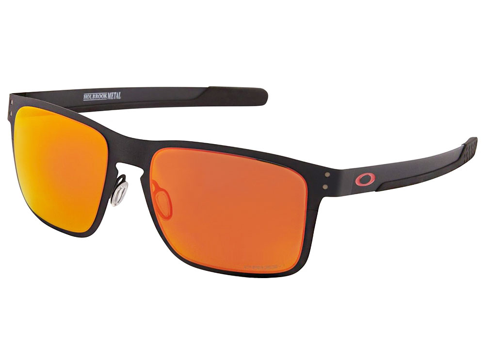 0a632e7470221 Details about Oakley Holbrook Metal Sunglasses OO4123-1255 Matte  Black Prizm Ruby