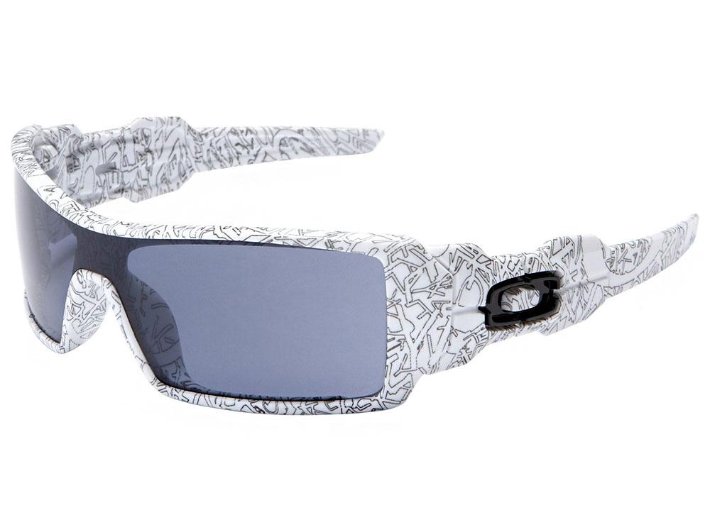Details about Oakley Oil Rig Sunglasses 03-461 White Text Print Grey bdb0826c5d