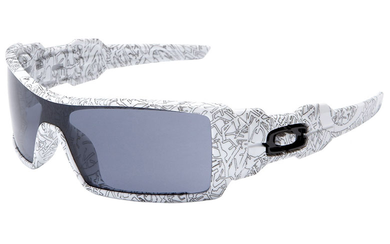 oakley oil rig frame white with text lenses grey